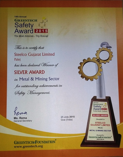 First Silver Safety Award - 2015